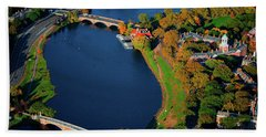 Aerial View Of Charles River With Views Beach Towel