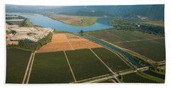 Aerial View Of Fields And Sturgeon Beach Towel