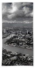 Aerial View Of London 4 Beach Sheet by Mark Rogan