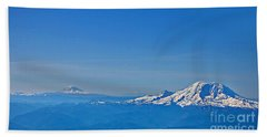 Aerial View Of Mount Rainier Volcano Art Prints Beach Towel