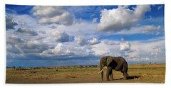 African Elephant Walking Masai Mara Beach Towel