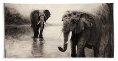 African Elephants At Sunset Beach Towel