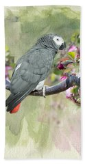 African Gray Among The Blossoms Beach Sheet
