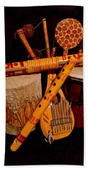 African Musical Instruments Beach Towel