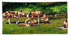 African Wild Dog Family Beach Towel by Miroslava Jurcik