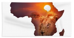 African Wildlife Map Beach Towel