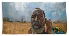 Beach Sheet featuring the mixed media Afrikan Bushman by Vannetta Ferguson