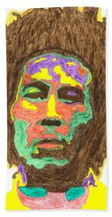 Beach Sheet featuring the painting Afro Bob Marley by Stormm Bradshaw