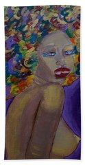 Beach Sheet featuring the painting Afro-chic by Apanaki Temitayo M