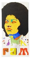 Beach Sheet featuring the painting Afro Pam Grier by Stormm Bradshaw