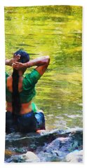 After The River Bathing. Indian Woman. Impressionism Beach Towel