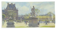 Afternoon In The Tuileries, Paris Oil On Canvas Beach Towel