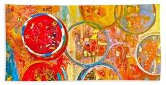 Against The Rain Abstract Orange Beach Towel by Anna Ruzsan