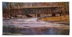 Aged Covered Bridge  Beach Sheet by Susan  McMenamin