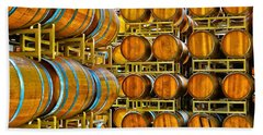 Aging Wine Barrels Beach Sheet