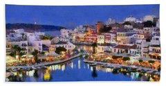 Painting Of Agios Nikolaos City Beach Towel