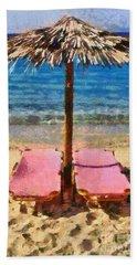 Agrari Beach In Mykonos Island Beach Towel