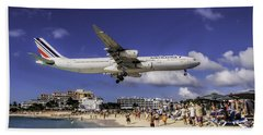 Air France St. Maarten Landing Beach Towel by David Gleeson