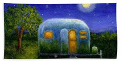 Airstream Camper Under The Stars Beach Towel