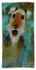 Airedale Terrier Beach Towel by Genevieve Esson