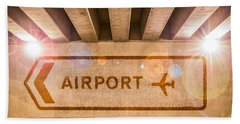 Airport Directions Beach Towel by Semmick Photo