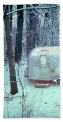 Airstream Trailer In Snowy Woods Beach Towel by Jill Battaglia