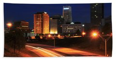 D1u-140 Akron Ohio Night Skyline Photo Beach Sheet