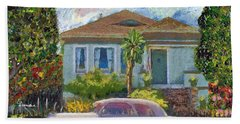 Alameda 1908 House 1950 Pink Dodge Beach Towel by Linda Weinstock