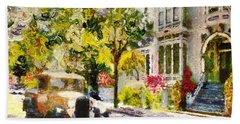 Alameda  Afternoon Drive Beach Towel by Linda Weinstock