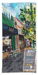 Alameda Julie's Coffee N Tea Garden Beach Towel by Linda Weinstock