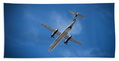 Airplane Beach Towel featuring the photograph Alaska Airlines Turboprop by Aaron Berg