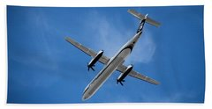 Airplane Beach Towel featuring the photograph Alaska Airlines Turboprop Wide Version by Aaron Berg