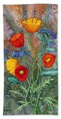 Alaska Poppies And Forgetmenots Beach Towel by Teresa Ascone