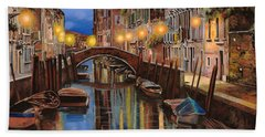 Beach Towel featuring the painting alba a Venezia  by Guido Borelli