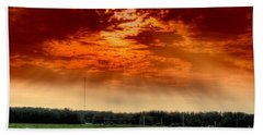 Beach Towel featuring the photograph Alberta Canada Cattle Herd Hdr Sky Clouds Forest by Paul Fearn