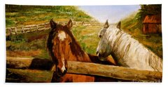 Alberta Horse Farm Beach Towel
