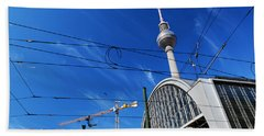 Alexanderplatz Sign And Television Tower Berlin Germany Beach Towel
