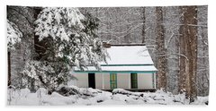 Beach Towel featuring the photograph Alfred Reagan's Home In Snow by Debbie Green