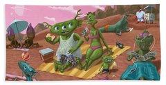 Alien Beach Vacation Beach Sheet by Martin Davey
