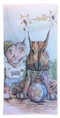 Beach Towel featuring the painting Alien Boy And His Best Friend by R Muirhead Art