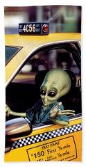 Alien Cab Beach Towel by Steve Read