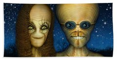 Alien Couple Beach Towel by James Larkin