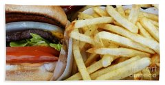 All American Cheeseburgers And Fries Beach Sheet by Methune Hively