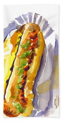 All Beef Ballpark Hot Dog With The Works To Go In Broad Daylight Beach Towel