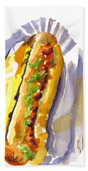 All Beef Ballpark Hot Dog With The Works To Go In Broad Daylight Beach Sheet by Kip DeVore
