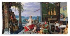 Allegory Of Music Oil On Canvas Beach Towel by Jan the Elder Brueghel
