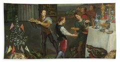 Allegory Of Taste, Detail Of Servers Bringing Wine, 1618 Oil On Panel Detail Of 61052 Beach Towel