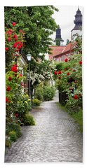 Alley Of Roses Beach Towel