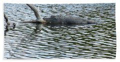 Beach Sheet featuring the photograph Alligator Resting On A Log by Ron Davidson