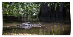 Alligator Swimming In Bayou 2 Beach Sheet